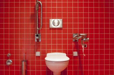 wc suspendu rouge